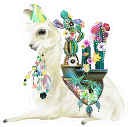 Llama and Cactus Sticker