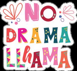 "Llama Colorful Lettering. ""no Drama Llama"" Sticker"