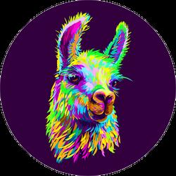 Llama Portrait Dark Purple Background Sticker