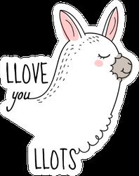 Llove You Llots Llama Quote Sticker