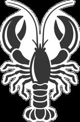 Lobster Silhouette Icon In Black Sticker