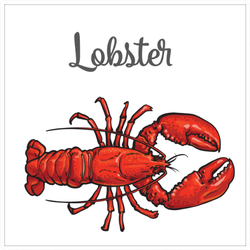 Lobster Sketch Style With Lettering Sticker