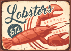 Lobsters And Crabs Vintage Seafood Restaurant Sign Sticker