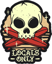 Locals Only Surfing Tattoo Sticker