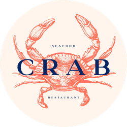 Logo With An Image Of A Crab Drawn By Graphic Lines Sticker