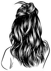 Loose Curly Long Black Hair Illustration Sticker