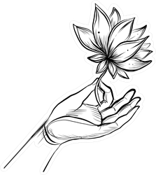 Lord Buddha's Hand Holding Lotus Flower Sticker