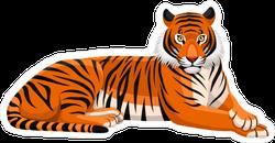 Lounging Tiger Mascot Sticker