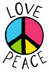Love And Peace Colorful Hippie Sticker