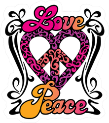 Love and Peace Retro Sticker