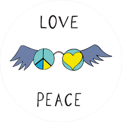 Love And Peace Winged Glasses Sticker