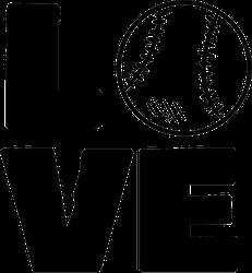 Love Baseball Sport Typography Sticker