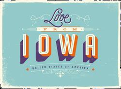 Love From Iowa Sticker