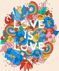Love Is Love - Floral Doodle Sticker