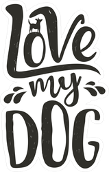 Love My Dog Text Sticker