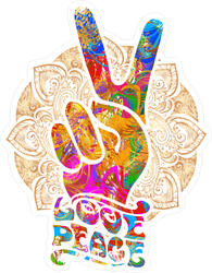Love Peace Hippie Fingers Sticker