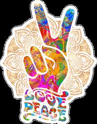 Love Peace Hippie Fingers Sticker