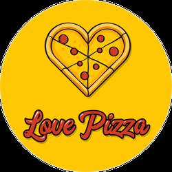 Love Pizza Circle Sticker