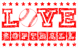 Love Softball With Stars Sticker