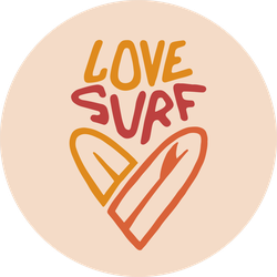 Love Surfing Heart Sticker