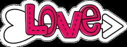 Love Text Art And Arrow Sticker