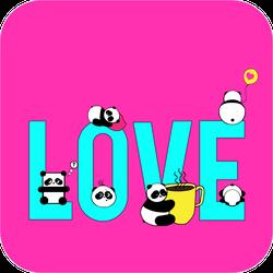 Love Text With Pandas Sticker