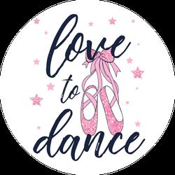Love To Dance Ballerina Shoes Sticker