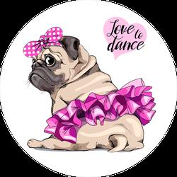 Love To Dance Pug Tutu Sticker