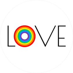 Love Typography With Pride Rainbow Sticker
