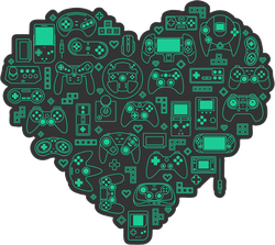 Love Video Games Heart Sticker