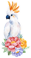 Lovely Bouquet With Cute Cockatoo Watercolor Sticker