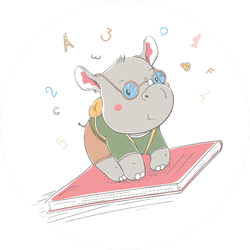 Lovely Cute Nerd Rhino Flies On Book Sticker