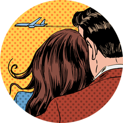 Loving Couple Looking At A Plane Taking Off Pop Art Sticker