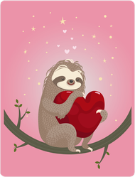 Loving Sloth In Tree With Heart Sticker