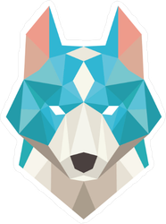 Low Poly Blue Wolf Sticker