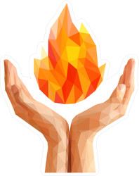 Low Poly Hands Holding Flame Sticker