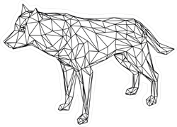 Low Poly Line Art Wolf Sticker