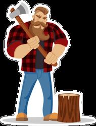 Lumberjack Brutal Bearded Man Sticker