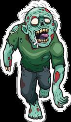 Lunging Cartoon Zombie Sticker