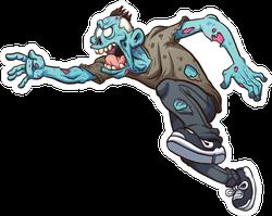 Lunging Running Cartoon Zombie Sticker