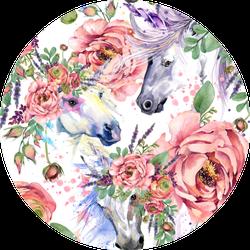 Magic Unicorn Horse Watercolor Pattern Sticker
