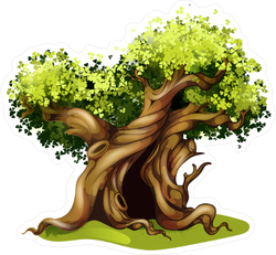 Magical Oak Fairy Tale Tree Sticker