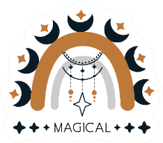 Magical Rainbow And Moon Sticker
