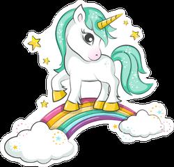Magical Unicorn on Rainbow Sticker