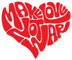 Make Love Heart Hippie Sticker