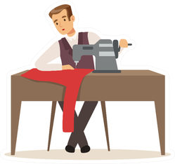 Male Dressmaker Or Tailor At Table Working Cartoon Sticker