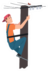 Male Electrician Engineer Working On Electric Power Pole Sticker