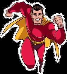 Male Superhero Running Fast Sticker