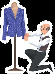 Male Tailor Adjusting Jacket On Mannequin Cartoon Sticker