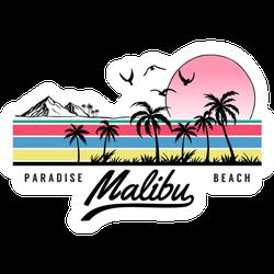 Malibu Paradise Beach Illustration Sticker